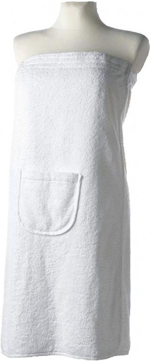 Sauna-Kilt Damen 80x140 cm weiß Tasche Klettverschluß & Gummizug 100% Baumwolle saugstark & flauschig