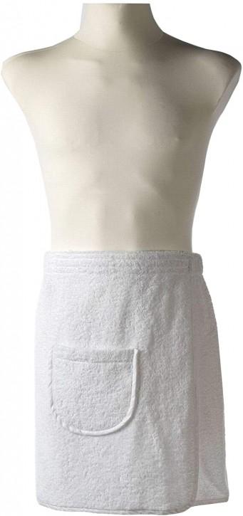 Sauna-Kilt Herren 50x140 cm weiß Tasche Klettverschluß & Gummizug 100% Baumwolle saugstark & flauschig
