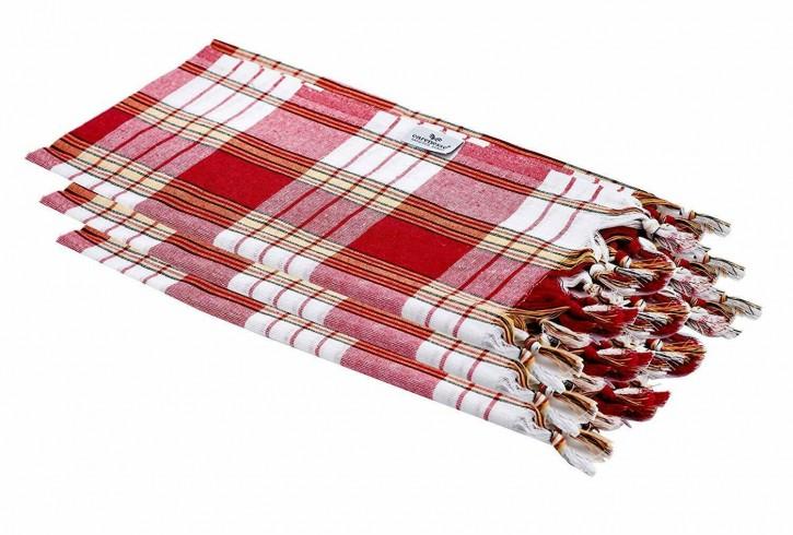 3x Hamamtuch CLASSIC rot kariert, leicht & platzsparend, 100% Baumwolle, 80 x 170 cm