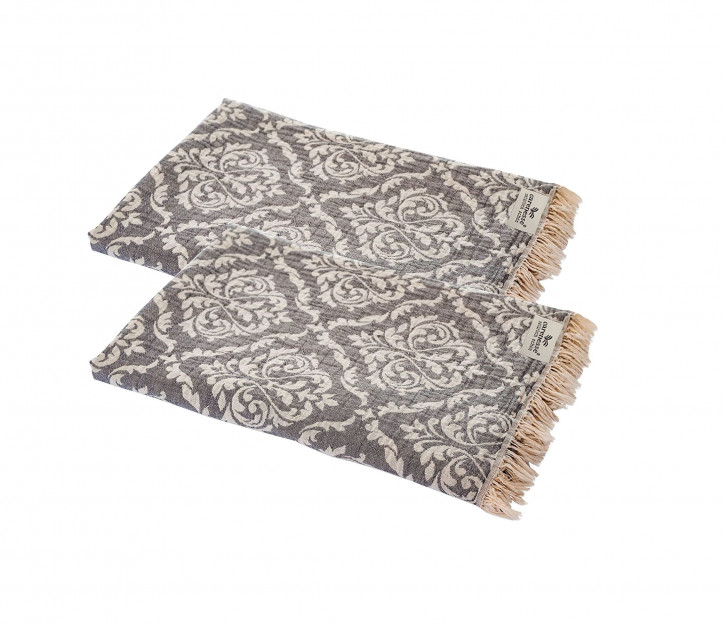 2er Set Handtuch Barock 60 x 100 cm grau I 100% Baumwolle I edel & zart mit hochwertiger Webung