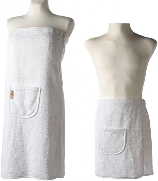 Sauna-Kilt Set Damen & Herren weiß Tasche Klettverschluß & Gummizug 100% Baumwolle saugstark & flauschig