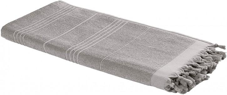 Hamamtuch FROTTIER 2in1 taupe grau, Handtuch und Pestemal in einem, 100% Baumwolle, 90 x 190 cm