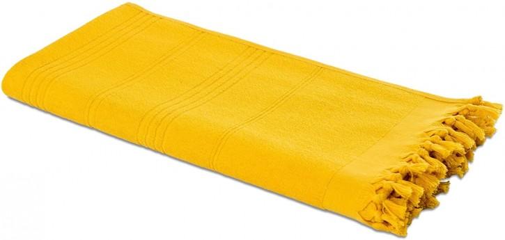 Hamamtuch FROTTIER 2in1 gelb, Handtuch und Pestemal in einem, 100% Baumwolle, 90 x 190 cm