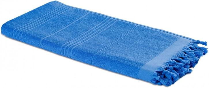 Hamamtuch FROTTIER 2in1 blau, Handtuch und Pestemal in einem, 100% Baumwolle, 90 x 190 cm