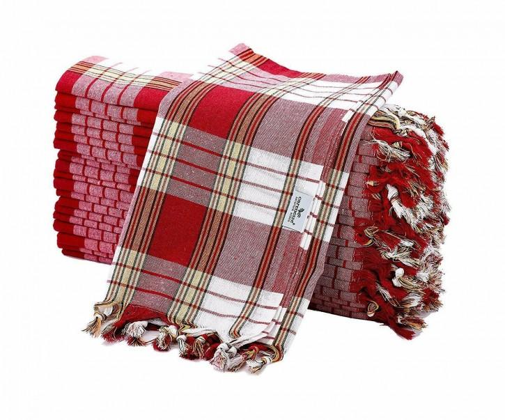 20x Hamamtuch CLASSIC rot kariert, leicht & platzsparend, 100% Baumwolle, 80 x 170 cm