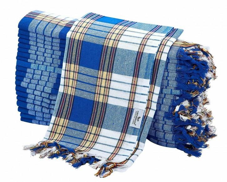 20x Hamamtuch CLASSIC blau kariert, leicht & platzsparend, 100% Baumwolle, 80 x 170 cm