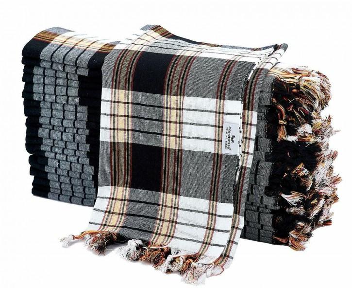 20x Hamamtuch CLASSIC schwarz kariert, leicht & platzsparend, 100% Baumwolle, 80 x 170 cm
