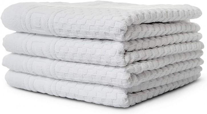 4x Handtuch WAFFEL 50x100 cm weiß Premium Hotelqualität 100% Baumwolle saugstark & strapazierfähig