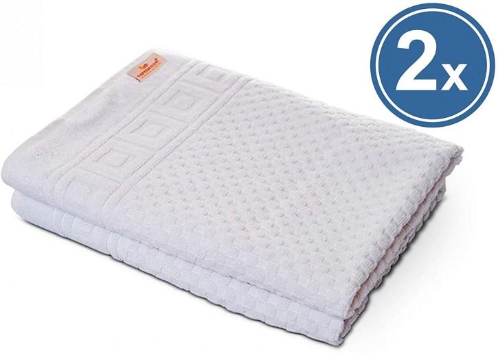 2x Duschtuch WAFFEL 70x140 cm weiß Premium Hotelqualität 100% Baumwolle saugstark & strapazierfähig