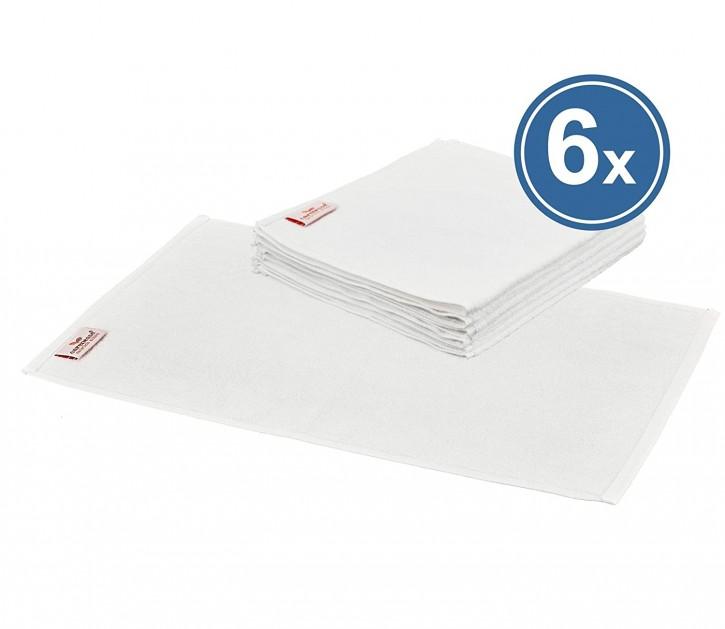 6x Gästehandtuch BASIC 30x50 cm weiß Premium Hotelqualität 100% Baumwolle saugstark & strapazierfähig