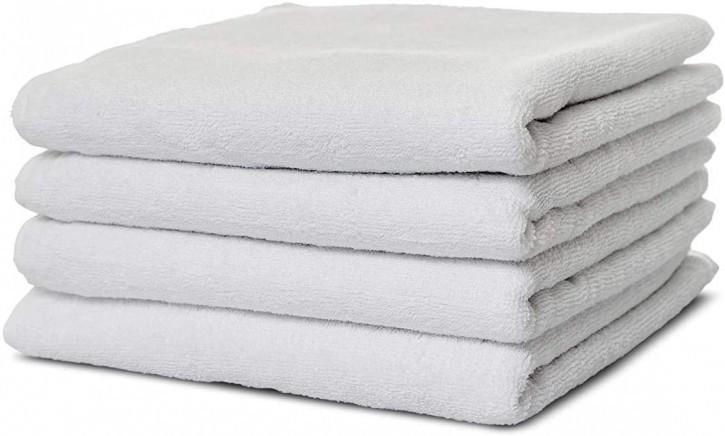 4x Handtuch BASIC 50x100 cm weiß Premium Hotelqualität 100% Baumwolle saugstark & strapazierfähig