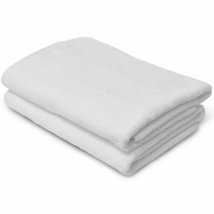 2x Duschtuch BASIC 70x140 cm weiß Premium Hotelqualität 100% Baumwolle saugstark & strapazierfähig