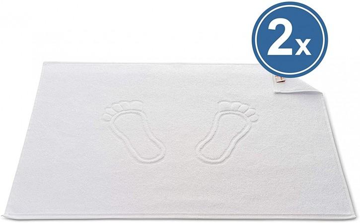 2x Badvorleger BASIC 50x70 cm weiß Premium Hotelqualität 100% Baumwolle saugstark & strapazierfähig