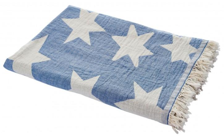 Hamamtuch STERN blau, Doubleface Tuch edel & hochwertig, 100% Baumwolle, 90 x 175 cm