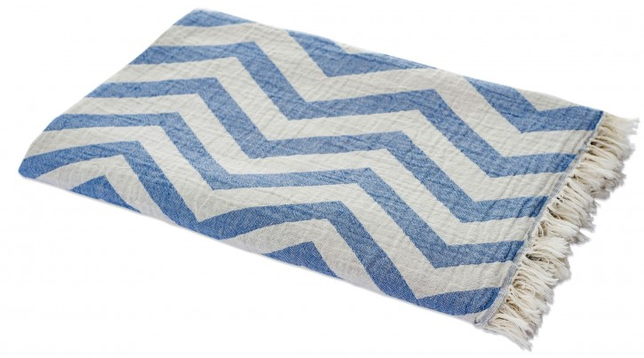 Hamamtuch 90*175 cm, 100% BW, Zickzack Muster blau grau Jacquard-Muster, Pestemal, Pooltuch, Strandtuch, Picknickdecke, Stola, Tischdecke, turkish towel, Plaid, Sommerplaid, Marke Carenesse