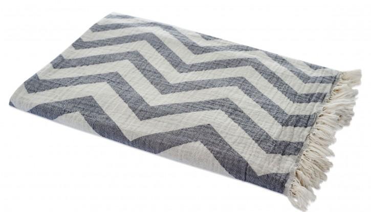 Hamamtuch ZICK ZACK grau, Doubleface Tuch edel & hochwertig, 100% Baumwolle, 90 x 175 cm