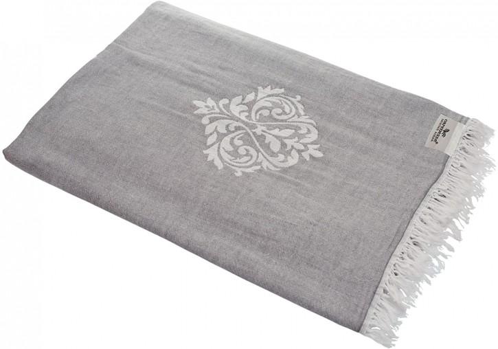 Tagesdecke ORNAMENT grau beidseitig schöner Überwurf dünn & leicht 100% Baumwolle 150 x 200 cm
