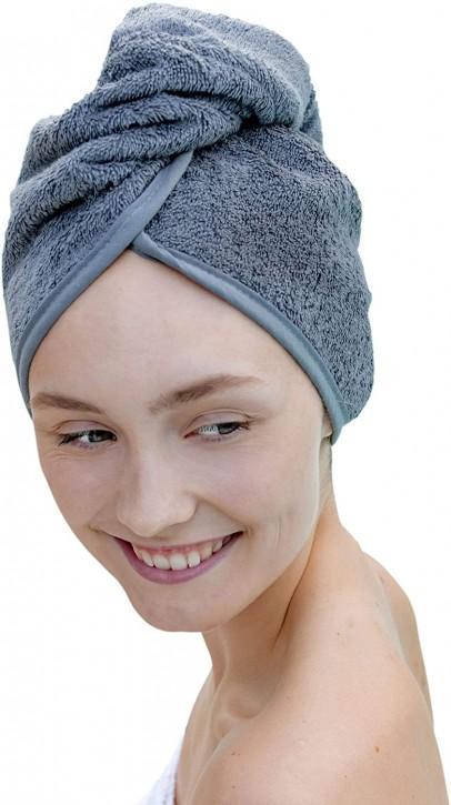 Haarturban anthrazit - Kopfhandtuch für stabilen Halt beim Haare Trocknen 100% Baumwolle