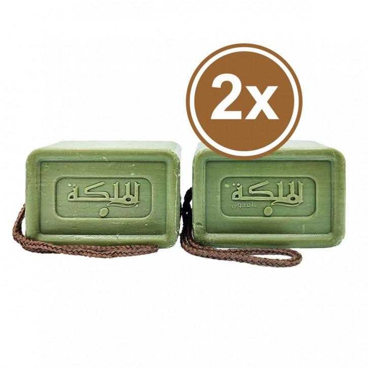 2x Olivenölseife mit frischem Duft & praktischer Kordel  2x150 g