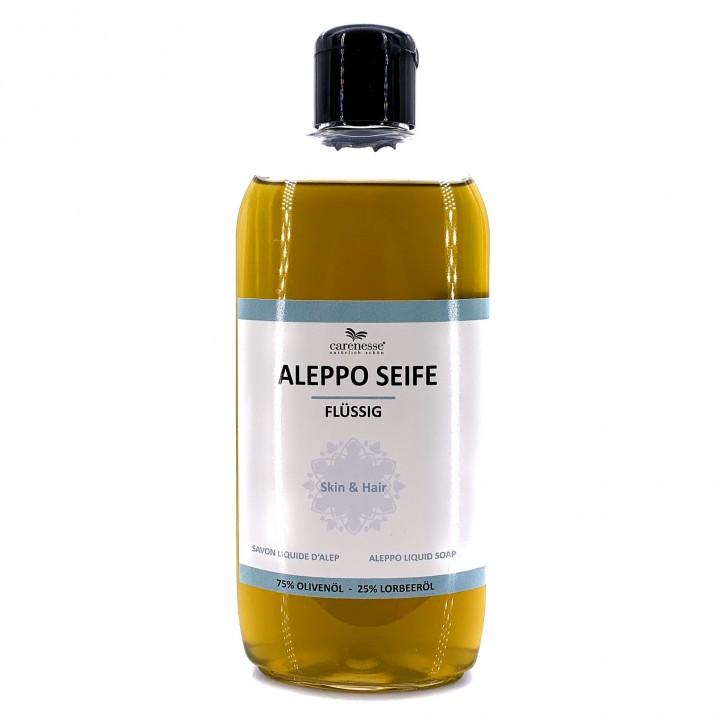 Aleppo Flüssigseife mit Dosierkappe, 75% Olivenöl 25% Lorbeeröl, 1x250ml
