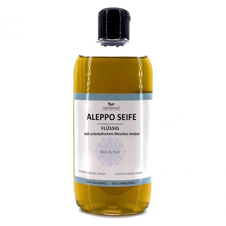 Aleppo Flüssigseife Moschuss Amber (Ambra) mit Dosierkappe, 75% Olivenöl 25% Lorbeeröl, 1x250ml