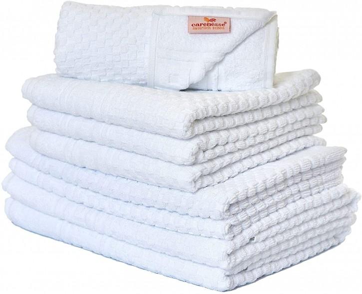 Handtuch-Set 8 tlg. WAFFEL weiß Premium Hotelqualität 100% Baumwolle saugstark & strapazierfähig