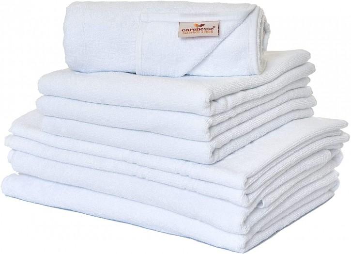 Handtuch-Set 8 tlg. BASIC weiß Premium Hotelqualität 100% Baumwolle saugstark & strapazierfähig