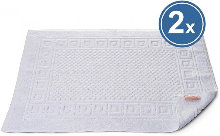 2x Badvorleger WAFFEL 50x70 cm weiß Premium Hotelqualität 100% Baumwolle saugstark & strapazierfähig