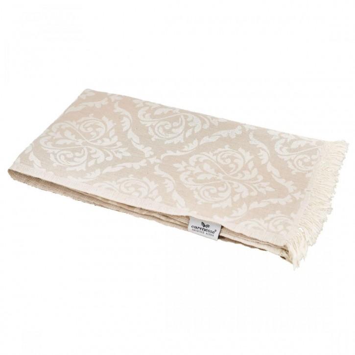Hamamtuch BAROCK beige, Doubleface Tuch edel & hochwertig, 100% Baumwolle, 90 x 175 cm