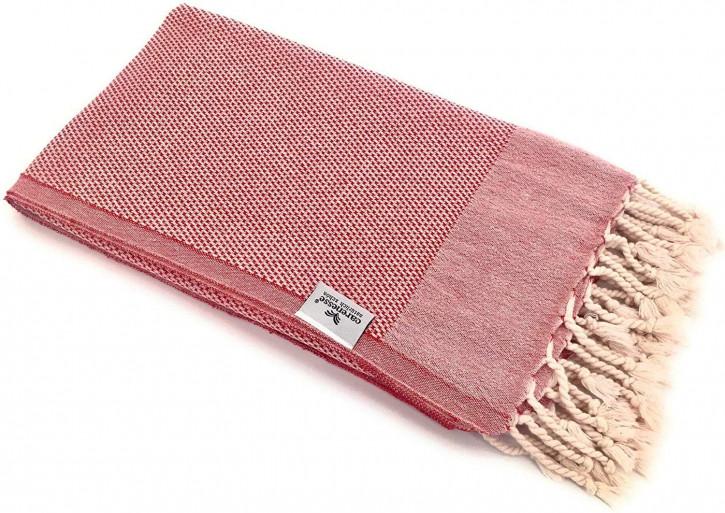 Hamamtuch FAVO rot mit feinem Pepita-Hahnentrittmuster I 100% Baumwolle I 90 x 170 cm