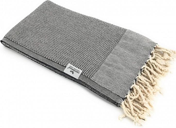 Hamamtuch FAVO schwarz mit feinem Pepita-Hahnentrittmuster I 100% Baumwolle I 90 x 170 cm