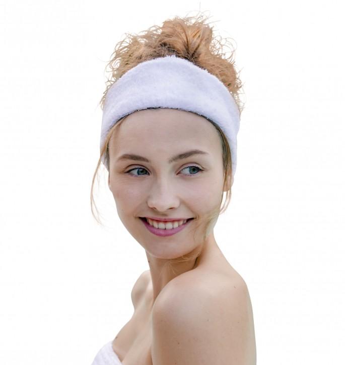 Haarband/Kosmetikband Einheitsgröße & Gummiband 100% Baumwolle weiß