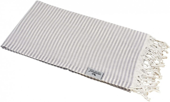 Hamamtuch STREIFEN grau, federleicht & hauchzart, 100% Baumwolle, 90 x 180 cm