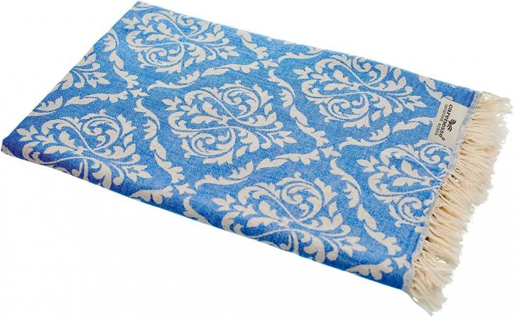 Hamamtuch BAROCK blau, Doubleface Tuch edel & hochwertig, 100% Baumwolle, 90 x 175 cm