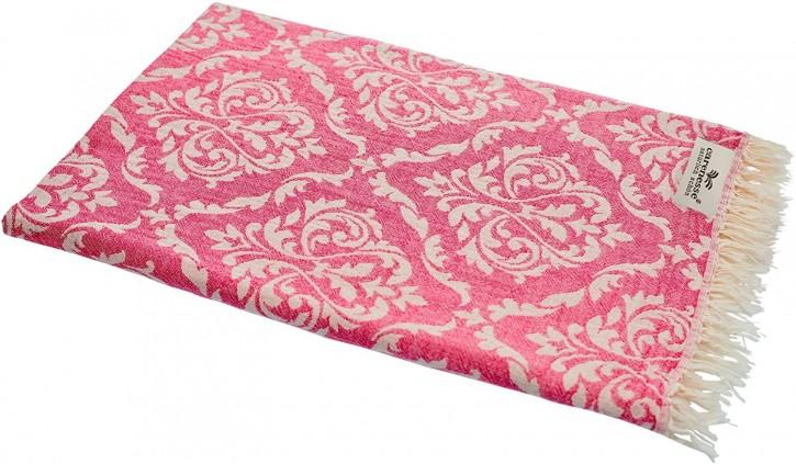 Hamamtuch BAROCK pink, Doubleface Tuch edel & hochwertig, 100% Baumwolle, 90 x 175 cm