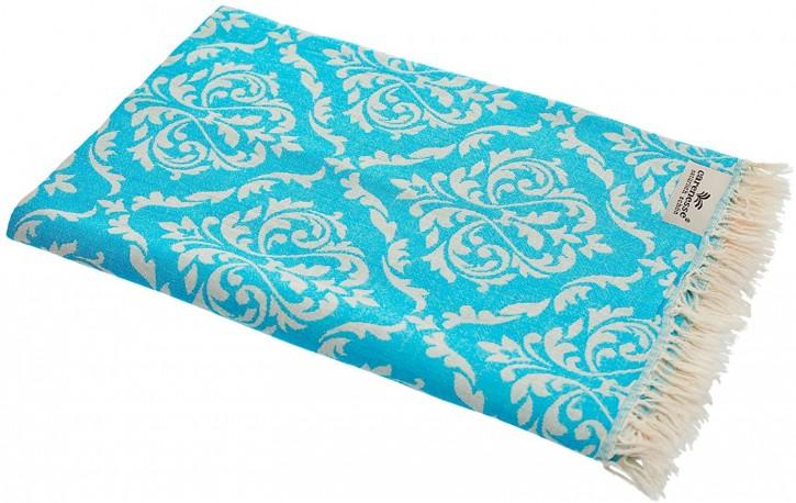Hamamtuch BAROCK türkis, Doubleface Tuch edel & hochwertig, 100% Baumwolle, 90 x 175 cm