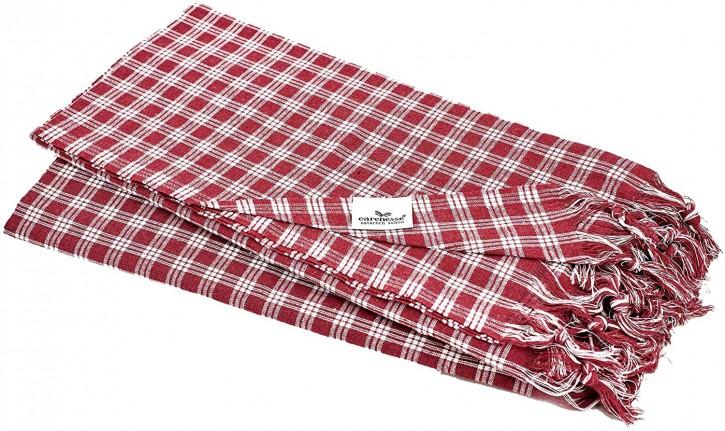 2x Hamamtuch CLASSIC bordeaux klein kariert, leicht & platzsparend, 100% Baumwolle, 90 x 180 cm
