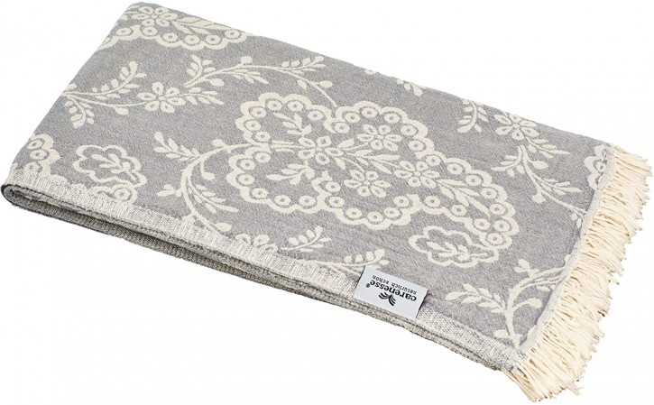 Hamamtuch PAISLEY grau, Doubleface Tuch edel & hochwertig, 100% Baumwolle, 90 x 175 cm