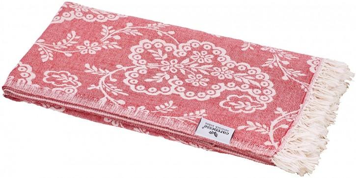 Hamamtuch PAISLEY rot, Doubleface Tuch edel & hochwertig, 100% Baumwolle, 90 x 175 cm