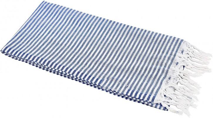 Hamamtuch STREIFEN blau, federleicht & hauchzart, 100% Baumwolle, 90 x 180 cm