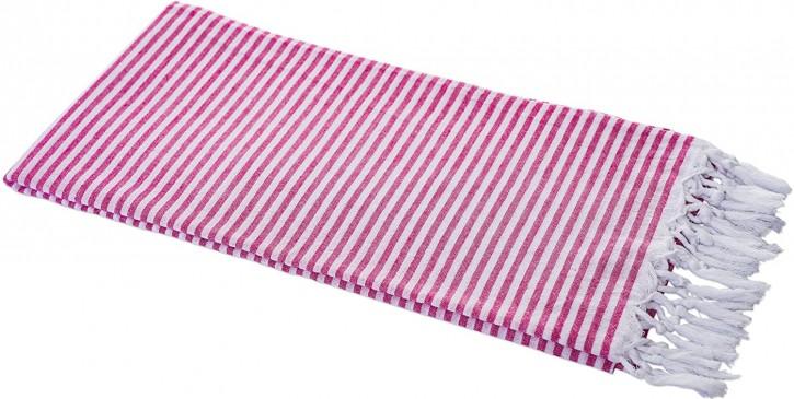Hamamtuch STREIFEN pink, federleicht & hauchzart, 100% Baumwolle, 90 x 180 cm