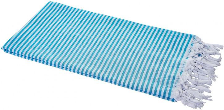 Hamamtuch STREIFEN türkis, federleicht & hauchzart, 100% Baumwolle, 90 x 180 cm