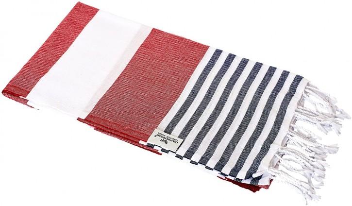 Hamamtuch TOMMY rot blau weiß gestreift, leicht & stylish, 100% Baumwolle, 100 x 180 cm