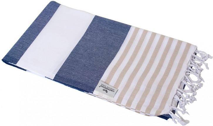 Hamamtuch TOMMY blau weiß beige gestreift, leicht & stylish, 100% Baumwolle, 100 x 180 cm