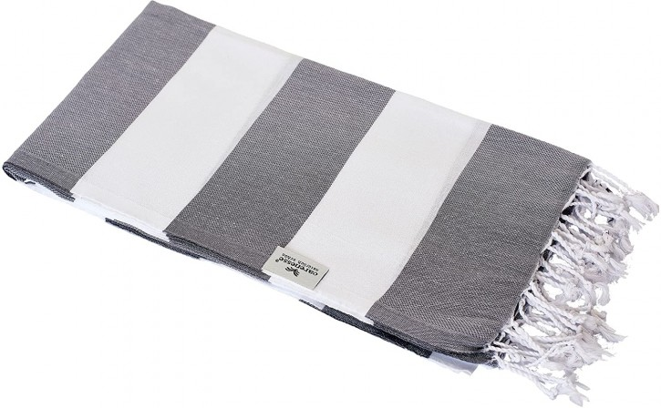 Hamamtuch TOMMY grau weiß gestreift, leicht & stylish, 100% Baumwolle, 100 x 180 cm