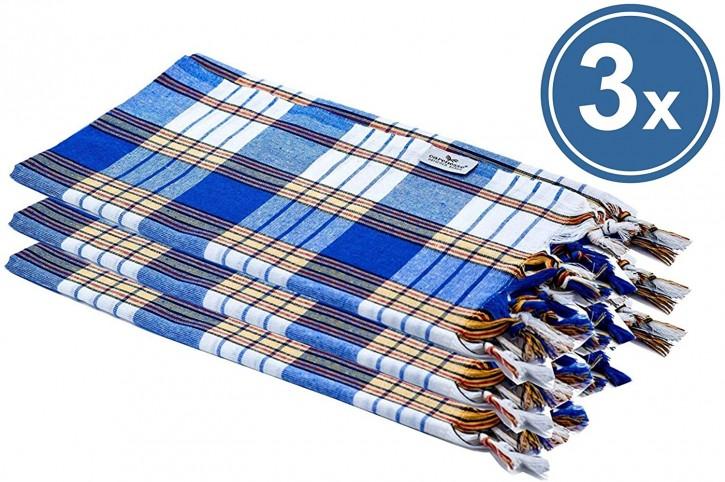 3x Hamamtuch CLASSIC blau kariert, leicht & platzsparend, 100% Baumwolle, 80 x 170 cm