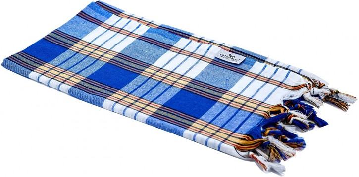 Hamamtuch CLASSIC blau kariert, leicht & platzsparend, 100% Baumwolle, 80 x 170 cm