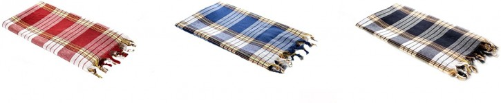 3x Hamamtuch CLASSIC rot blau schwarz kariert, leicht & platzsparend, 100% Baumwolle, 80 x 170 cm