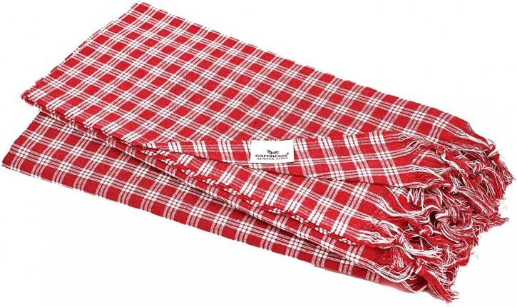 2x Hamamtuch CLASSIC rot klein kariert, leicht & platzsparend, 100% Baumwolle, 90 x 180 cm