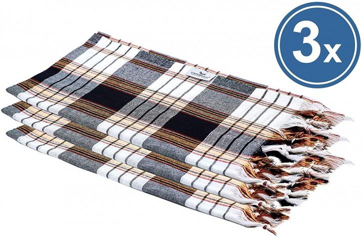 3x Hamamtuch CLASSIC schwarz kariert, leicht & platzsparend, 100% Baumwolle, 80 x 170 cm